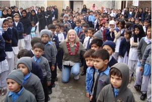 Gail with Pakistani children